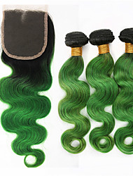 3 Pieces Body Wave Ombre Human Hair Weaves and One Lace Top Closure Brazilian Human Hair Extensions Green Body Wave
