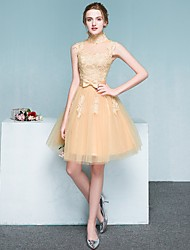 Cocktail Party Dress Ball Gown High Neck Knee-length Tulle with Appliques
