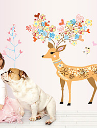 2016 New Cartoon Sika Deer Animals Fashion Wall Stickers DIY Children's Bedroom Living Room Wall Decals