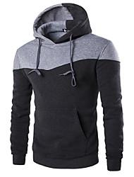 Pull à capuche & Sweatshirt Pour des hommes Couleur Pleine Décontracté / Sport Coton / Polyester Manches longues Noir / Gris