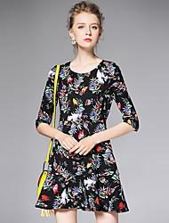 AFOLD® Femme Col en V Manches 1/2 Mini Robes-6007