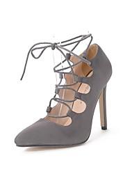 Damen Mädchen-Loafers & Slip-Ons-Hochzeit Kleid Party & Festivität-Wildleder-Stöckelabsatz-Neuheit Gladiator Pumps-Schwarz Grau