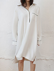 Women's Casual/Daily Simple Shirt Dress,Solid Shirt Collar Knee-length Long Sleeve White Polyester Summer