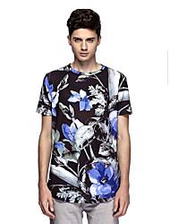Tee-Shirt Pour des hommes A Motifs Décontracté Manches Courtes Polyester / Spandex Noir
