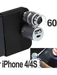 Mini 60X Microscope with 2-LED Illumination Currency Detecting UV Light for Iphone 4 (3*LR1130)