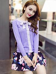 блестки женщин происходит из мило весной множество юбка, твердые / цветочные вокруг шеи длинный рукав фиолетовый другие непрозрачные