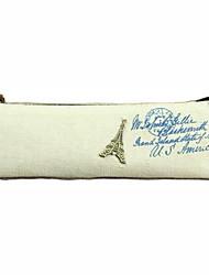 Retro Fashion Classic Canvas Pencil Case Paris Scenery Ship Stationery Storage Bag (Random Colors)