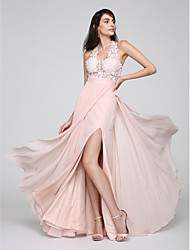 TS Couture® Formal Evening Dress Sheath / Column Halter Floor-length Chiffon with Lace / Split Front