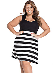 Women's Black And White Block Stripe Big Girl Skater Dress