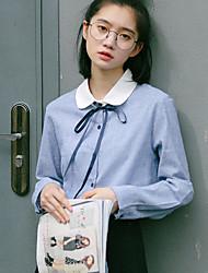 Chemise Aux femmes,Couleur Pleine Décontracté / Quotidien simple Printemps Manches Longues Col de Chemise Bleu Coton Moyen