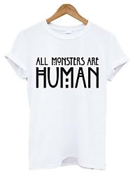 Tee-shirt Femme,Lettre Décontracté / Quotidien simple Eté Manches Courtes Col Arrondi Blanc Noir Coton Moyen