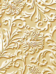 JAMMORY Art DecoWallpaper For Home Wall Covering Canvas Adhesive required Mural Yellow Flowers Relief3XL(14'7''*9'2'')