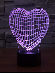 Loving Heart Touch Dimming 3D LED Night Light 7Colorful Decoration Atmosphere Lamp Novelty Lighting Christmas Light