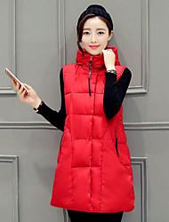 Women's Solid Pink / White / Black / Gray Padded Coat,Simple Hooded Sleeveless Down Vest