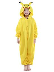Kigurumi пижамы пищуха пищуха трико / onesie праздник / праздник животное / Хэллоуин твердое вещество желтого цвета для малыша флиса