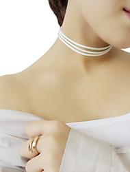 Femme Collier court /Ras-du-cou Collier multi rangs Molleton Multicouches Mode Blanc Noir Marron Bleu Bijoux PourSoirée Quotidien