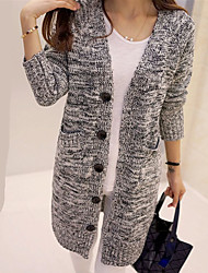 Women's Fashion V Neck Casual/Daily Loose Long Cardigan Button Deco knit Sweater