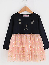 Girl's Casual/Daily Print Dress,Acrylic Spring / Fall Blue / Pink