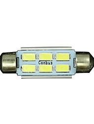 10 x weiße Kuppel 6 SMD LED Auto-Innenbirnenlicht 39mm
