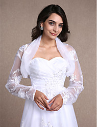 Women's Wrap Shrugs Long Sleeve Lace / Organza White Wedding / Party/Evening / Casual Scoop Lace Open Front