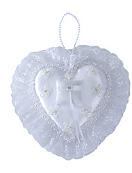 Pure White Rose Flower with Crystal Pearl Decoration Hanging Ring Pillow for Wedding Party(27*29cm)