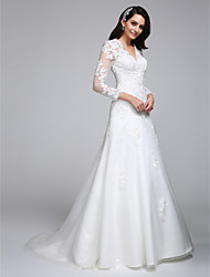 A-line Wedding Dress Court Train V-neck Satin / Tulle with Appliques