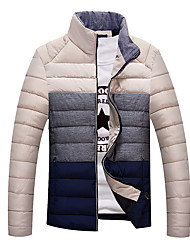Men's Regular Padded Coat,Cotton Patchwork Long Sleeve