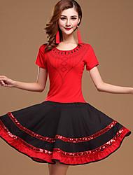 Latin Dance Outfits Women's Performance Cotton Milk Fiber Sequins 2 Pieces Fuchsia / Burgundy / Light Red Top / Skirt