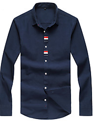 Men's Fashion Casual  Slim Long Sleeved Shirt,Cotton / Polyester Long Sleeve Blue / White