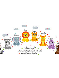Wall Stickers Wall Decals Style Cute Animal English Words PVC Wall Stickers