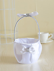 White Satin with Crystal Bow Bowkont Decoration Flower Basket for Wedding Party(12*12*24cm)