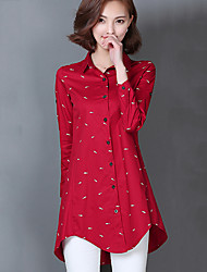 Women's Going out / Casual/Daily Simple / Cute Spring / Fall Shirt,Animal Print Shirt Collar Long Sleeve