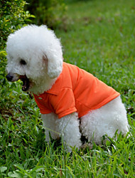 Perros Camiseta Rojo / Verde / Azul / Rosado / Naranja Primavera/Otoño Un Color Casual/Diario, Dog Clothes / Dog Clothing-Other
