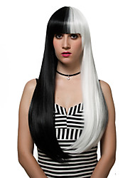 Black and white long hair, fashion wigs.