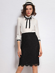 STEPHANIE  Women's Going out Vintage Spring Set SkirtSolid Stand Long Sleeve Pink / White / Black