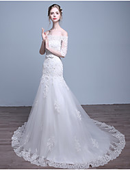 Fit & Flare Wedding Dress Sweep / Brush Train Off-the-shoulder Tulle with Appliques / Beading / Bow / Crystal / Ruffle