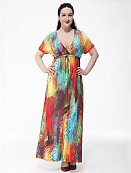 Balançoire Robe Femme Grandes Tailles Bohème,Arc-en-ciel V Profond Maxi Manches Courtes Polyester Eté Taille Haute Micro-élastique Moyen