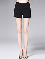 AFOLD® Damen Mittlere Hüfthöhe Kurze Hosen Schwarz Bequem Hose-6081