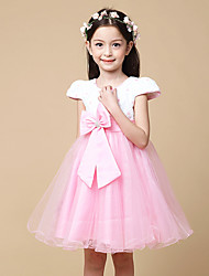 A-line Knee-length Flower Girl Dress - Satin / Tulle / Polyester Short Sleeve Jewel with Bow(s) / Embroidery