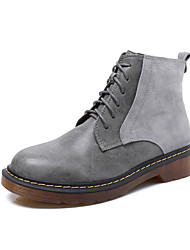 Women's Boots  Bootie / Round Toe / Closed Toe  Casual Flat Heel Lace-up Black / Yellow / Gray Walking