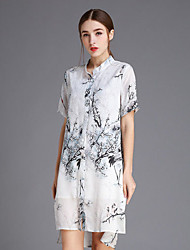Boutique S Women's Going out Cute Sheath Dress,Print Stand Knee-length ½ Length Sleeve White Silk Spring