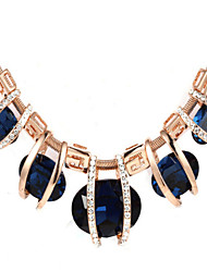 Korean Luxury Crystal Blue Wedding Bridal Choker Necklace For Women Jewelry