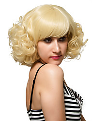 Gold short curly blonde hair, Europe and the United States fashion wig.
