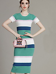 MIUCO Casual/Daily Sexy Bodycon Dress,Striped Round Neck Midi Short Sleeve Red / Green Cotton Summer