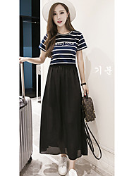 Women's Going out /Cute A Line Dress,Striped Round Neck Maxi Short Sleeve Black Others Summer