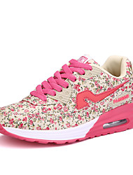 женские кроссовки кроссовки весна / осень комфорт ткани случайные плоские пятки розовый / фиолетовый ходьба