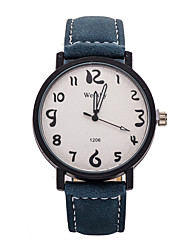 Men's Casual Leather Band White Case Dress Watch