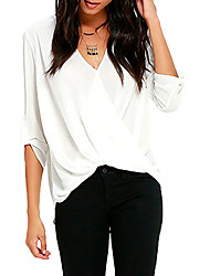 Women's White V Neck Ruffle Loose Fit Blouse Top
