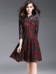 Women's Going out Cute Sheath Dress,Print Asymmetrical Above Knee Long Sleeve Red Polyester Fall