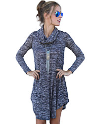 Women's Going out Street chic Shift Dress,Solid Turtleneck Asymmetrical Long Sleeve Gray Cotton Fall